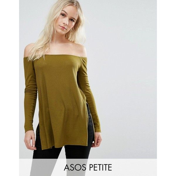 ASOS PETITE Off Shoulder Slouchy Top With Side Split ($18) ❤ liked on Polyvore featuring tops, green, petite, green off shoulder top, off the shoulder tops, asos, slouchy off the shoulder tops and slouchy tops