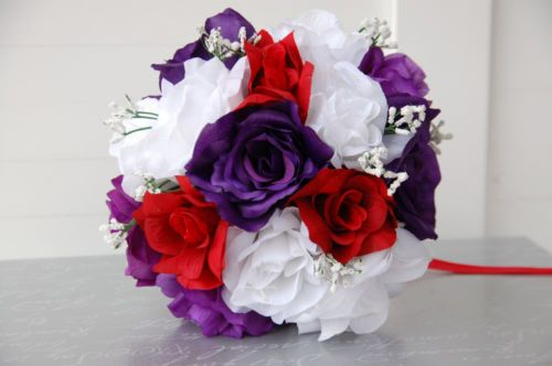 Purple White Apple Red Wedding Bouquet Bridesmaid Toss Silk Flower | eBay