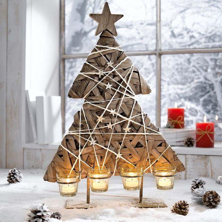 Portalumini dell'Avvento a forma di albero di Natale in legno naturale: Amazon.it: Casa e cucina