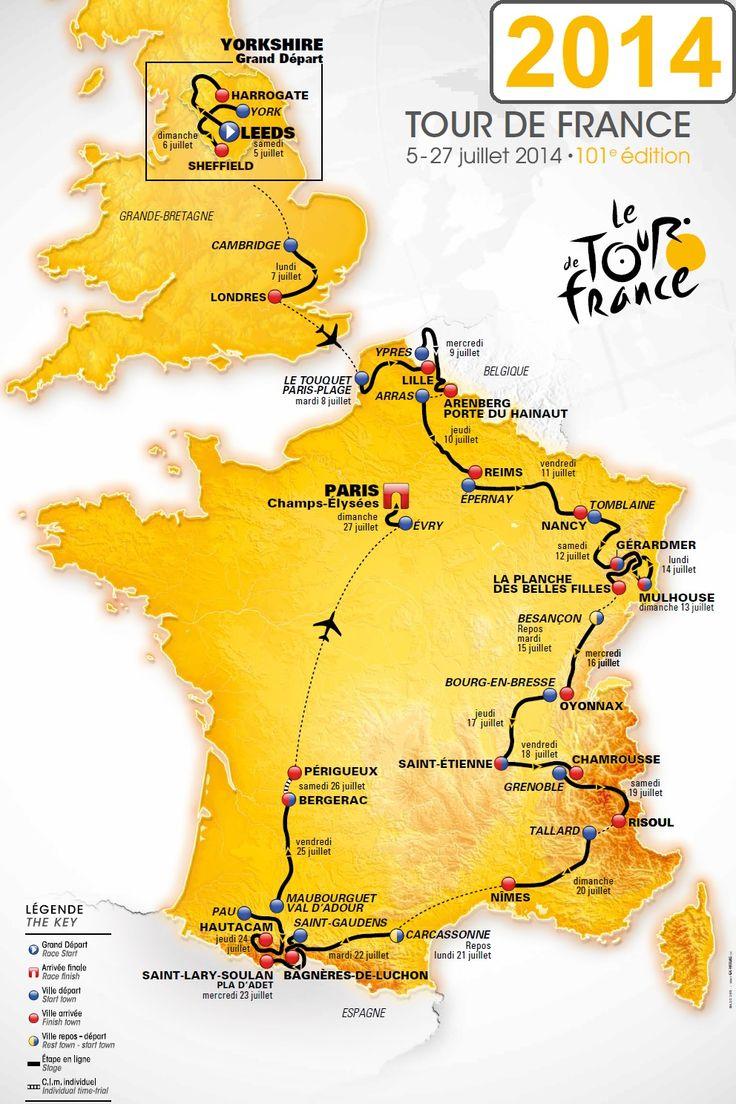 La carte du Tour de France 2014