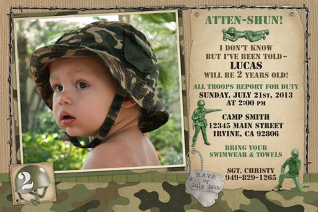 Army Camouflage Birthday Party Invitations - Army Camouflage birthday party invitations with your child's photo and party details. These invitations include dog tags, combat helmet, toy soldiers, barbed wire and camouflage paper all digitally combined with your photo. ATTEN-SHUN! All troops report for duty!