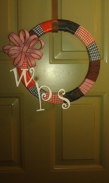 Ribbon wreath for my Razorbacks!