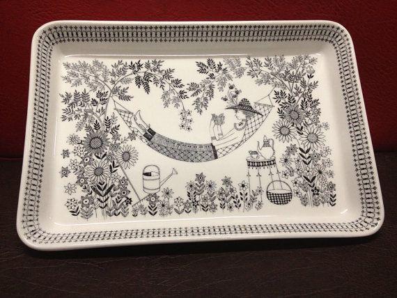 Arabia Emilia large dish servingtray retro tray by LivsLykke