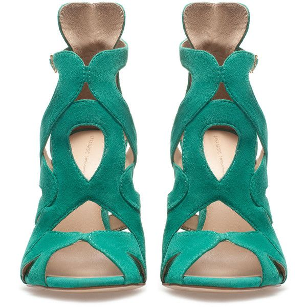 Zara Strappy High-Heel Sandals (26 AUD) ❤ liked on Polyvore featuring shoes, sandals, heels, zara, high heels, green, green high heel sandals, strap heel sandals, green heeled sandals and high heeled footwear