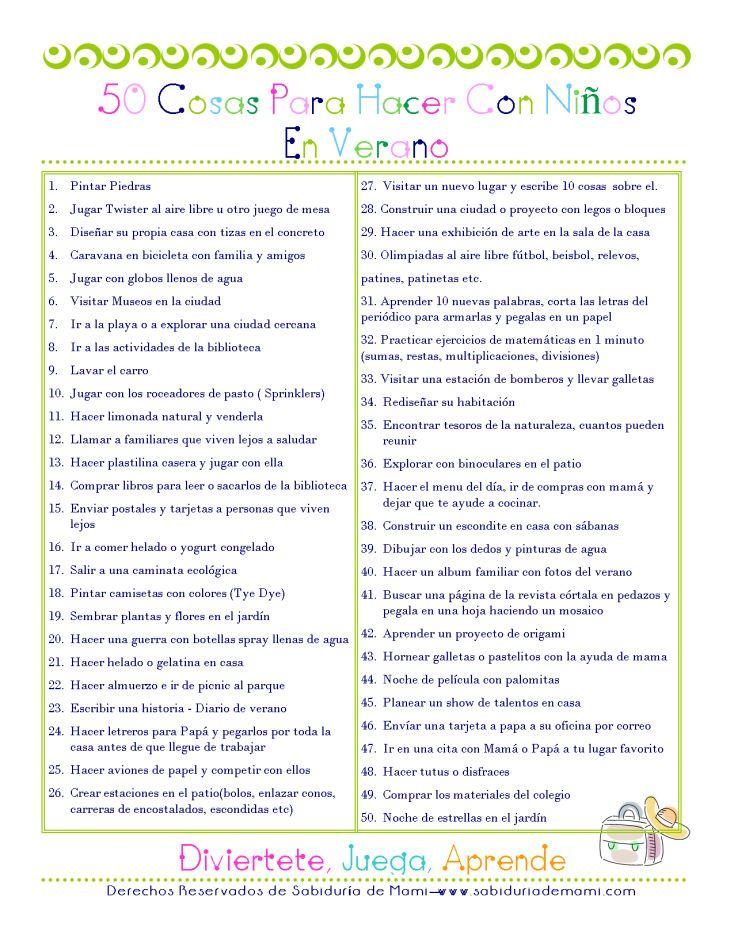 Sabiduría de Mami   50 cosas para hacer con niños en Verano   http://www.sabiduriademami.com
