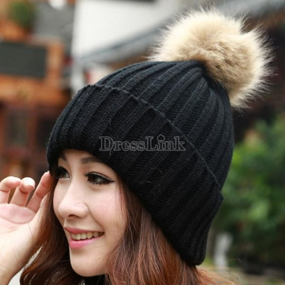 2014 New Women's Knit Cap Beanie Hat With Fur Winter Slouch Elastic