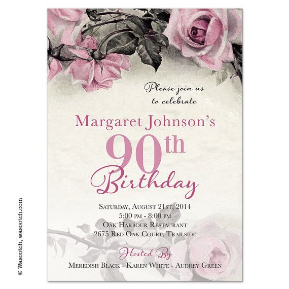 Vintage Pink, Grey and Ivory Rose Illustration Adult 90th Birthday Invitations designed by wasootch on Etsy  Printed invitations. Comes with envelopes. Prices include shipping.