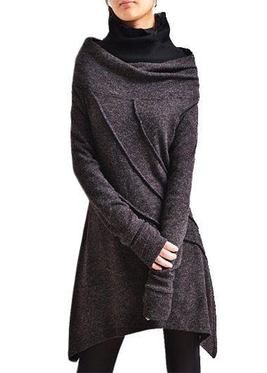 Cowl Neck Asymmetric Hem Long Sleeve Dress on sale only US$31.11 now, buy cheap Cowl Neck Asymmetric Hem Long Sleeve Dress at lulugal.com