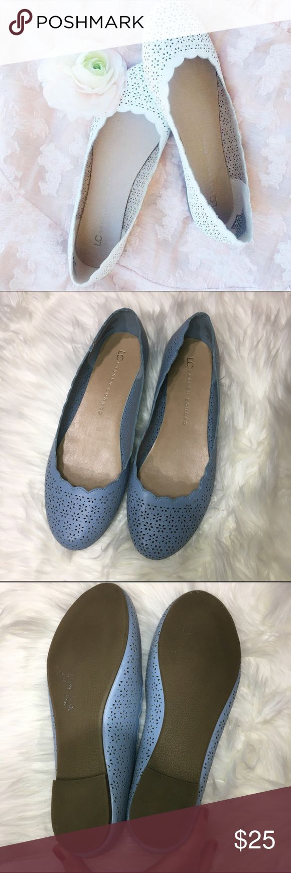 Lauren Conrad LC scalloped ballet flats floral LC Lauren Conrad for Kohls Scalloped Ballet flat in beautiful blue color. Floral cut out design. Size 8. Slight scuff on rear heel of one shoe. LC Lauren Conrad Shoes Flats & Loafers