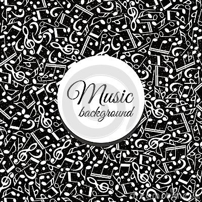 Musical background from notes monochrome-vector illustration. Black and white ornament. Banner texture music.