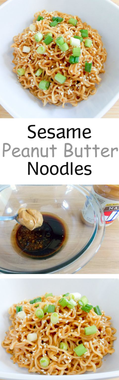 Sesame Peanut Butter Noodles (I added tofu and broccoli)