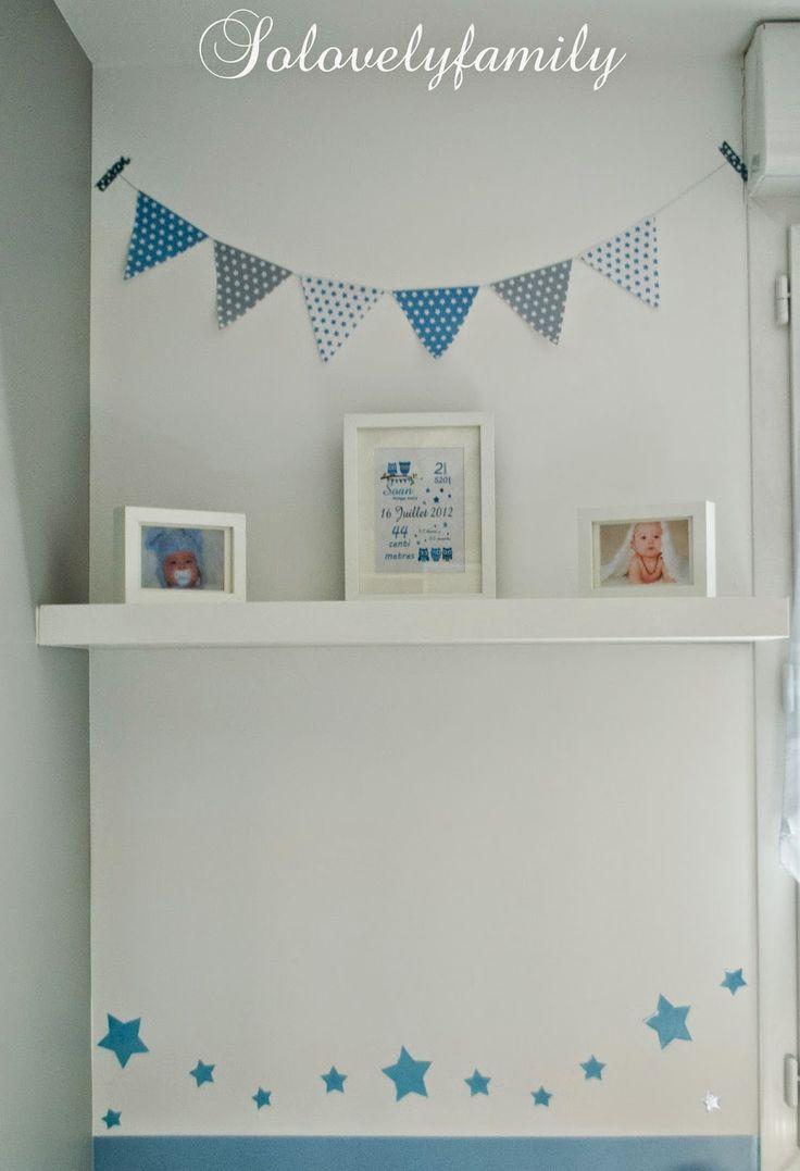 guirlande fanion bleu gris blanc toile d co chambre gar on chambre bleu gris toile. Black Bedroom Furniture Sets. Home Design Ideas