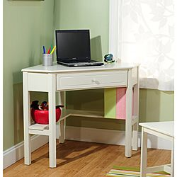@Overstock.com - Antique White Wood Corner Computer Desk - Make the most of your square footage with this white wood corner computer desk that is perfect for a kids room. This desk has enough room for doing homework or working on a laptop while conserving space by taking up just one corner of your room.  http://www.overstock.com/Home-Garden/Antique-White-Wood-Corner-Computer-Desk/5998428/product.html?CID=214117 $133.99