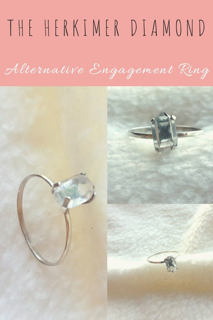 Herkimer diamond sterling silver engagement ring crueltyfree raw