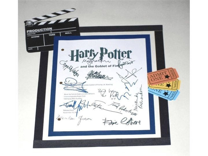 Harry Potter And The Goblet of Fire Signed: Daniel Radcliffe, Rupert Grint, Emma Watson, Ralph Fiennes, Brendan Gleeson, Maggie Smith