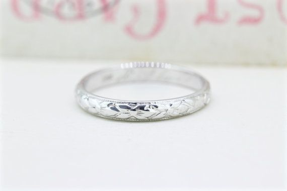 Antique Art Deco Wedding Band | '1924' 18k White Gold Ring | 1920s Orange Blossom Eternity Band | Vintage Stacking Ring |Size 5.25 by FergusonsFineJewelry