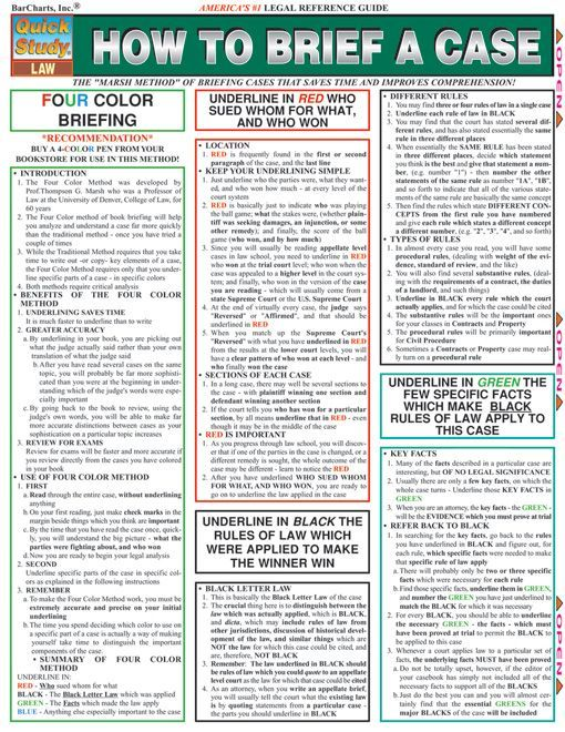 This 4-page guide shows you how to brief a case in a compact format that is simple to follow. Includes an actual brief that illustrates all the salient points. Browse and download thousands of educational eBooks, worksheets, teacher presentations, practice tests and more at Examville.com - The Educa