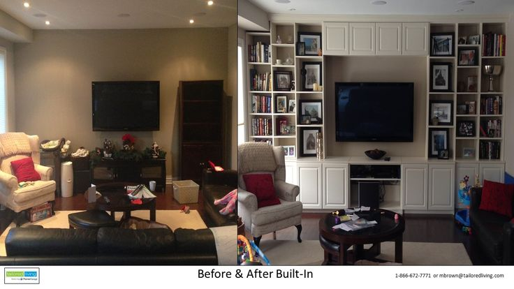 This family room went from boring to breathtaking by adding a built-in in antique white. A huge amount of new storage and added height and length to the room.