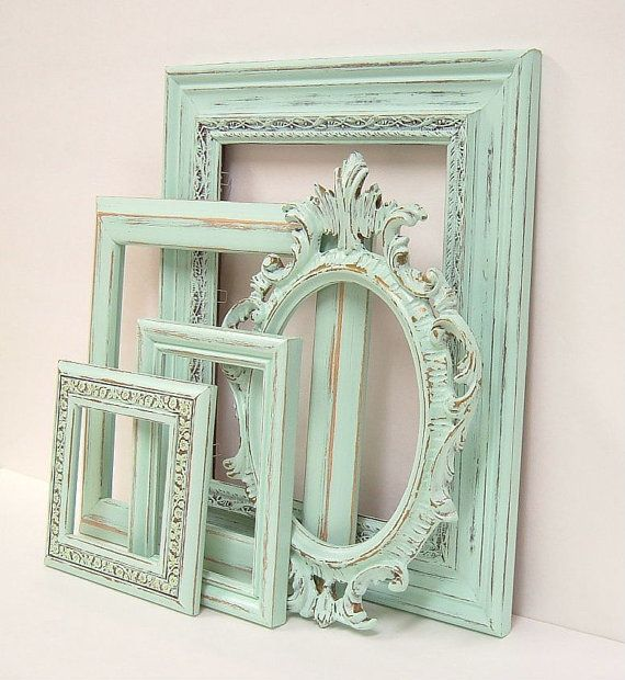 Shabby Chic Frames Pastel Mint Green Picture Frame Set Ornate Vintage Frames Wedding Shabby Chic Home Decor via Etsy