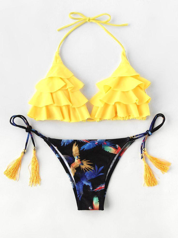 Conjunto de bikini con estampado de pájaro de volante con cordones con borla-Spanish SheIn(Sheinside)