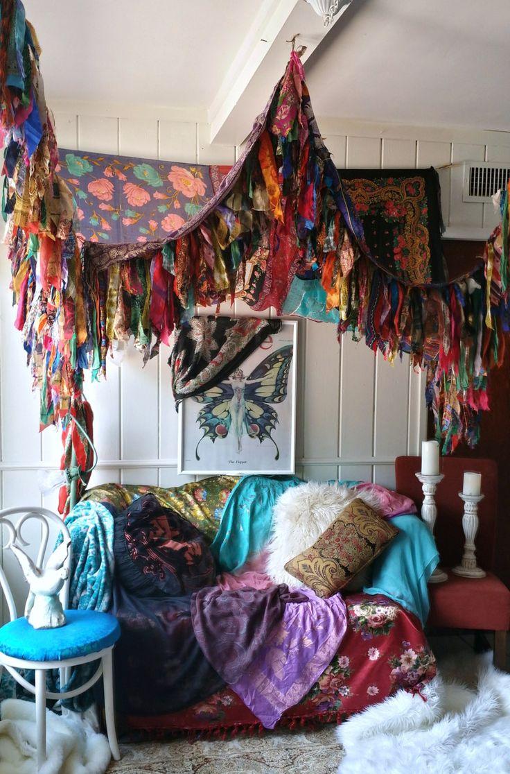 Bohemian Bed Canopy Boho Hippy vintage scarves Gypsy hippie patchwork meditation garden Wedding curtain photo prop backdrop Fringe by HippieWild on Etsy