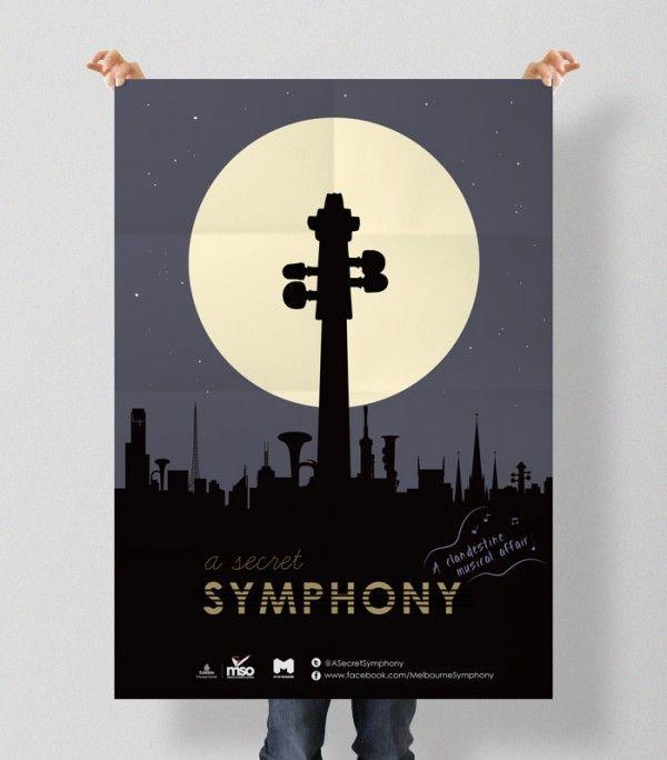 Print(Poster)  Project: A Secret Symphony Campaign  Client: Melbourne Symphony Orchestra (MSO)  Description: A0 street poster design for A Secret