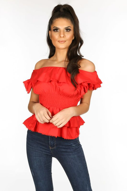 20785000269 Red Frill Off The Shoulder Peplum Top in 2019 | New In | Dressed in ...