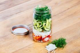 Riced Cauliflower Mason Jar Salad