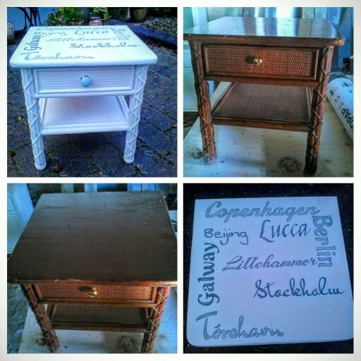 A bedside table for my daughter, decorated with the city names she has been to, befor she turned sixteen!