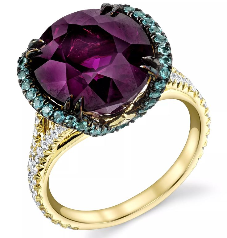 Omi Privé Sevilla ring in 18k yellow gold with 10.95 ct. purple garnet, 0.56 ct. t.w. alexandrites, and 0.53 ct. t.w. diamonds
