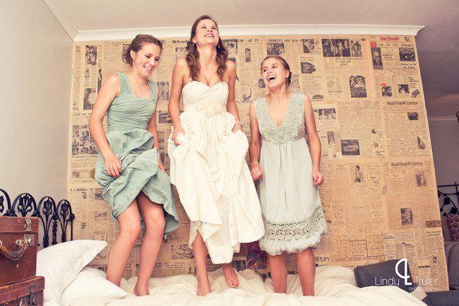 Hip Hooray!!! Mandatory pre-nuptials jump on the bed with your besties! Eco Friendly Karoo Style Garden Wedding, South Africa | Confetti Daydreams ♥ ♥ ♥ LIKE US ON FB: www.facebook.com/confettidaydreams ♥ ♥ ♥ #Wedding #RealBride #GreenWedding