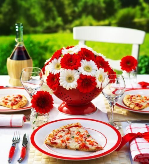 lushome flower centerpieces white and red colors