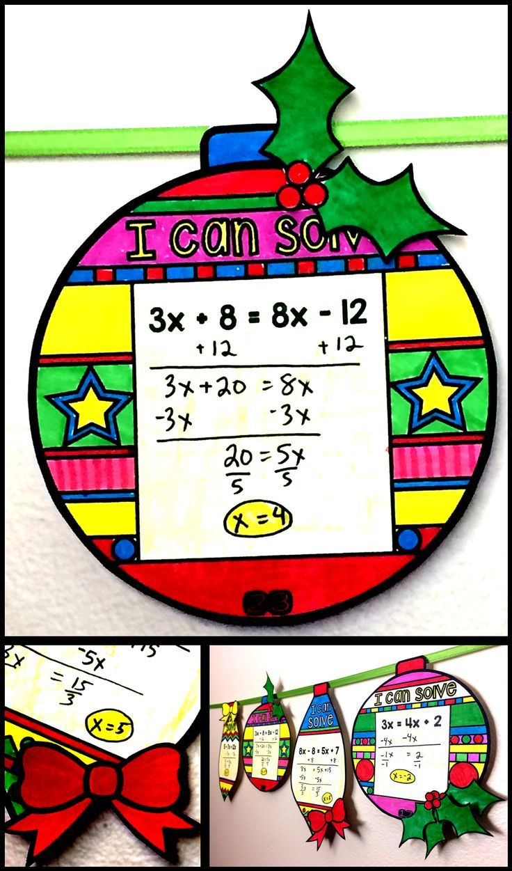 Students solve 2-step and multi-step equations in this math pennant activity that doubles as Christmas math classroom decor. Equations have variables on the right, left or both sides making the activity easy to differentiate for each student. There are also 4 blank pennants for you to write your own equations. #christmasalgebra #christmasmath #mathpennant #solvingequations