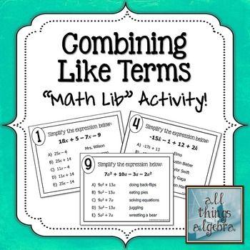 Best 25+ Combining like terms ideas on Pinterest   Algebraic ...