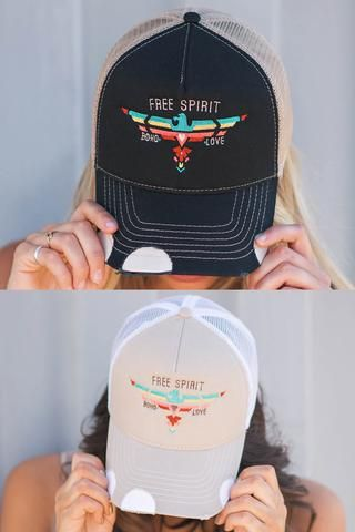 Free Spirit Boho Love Embroidered Distressed Trucker Hat - NanaMacs.com - 1
