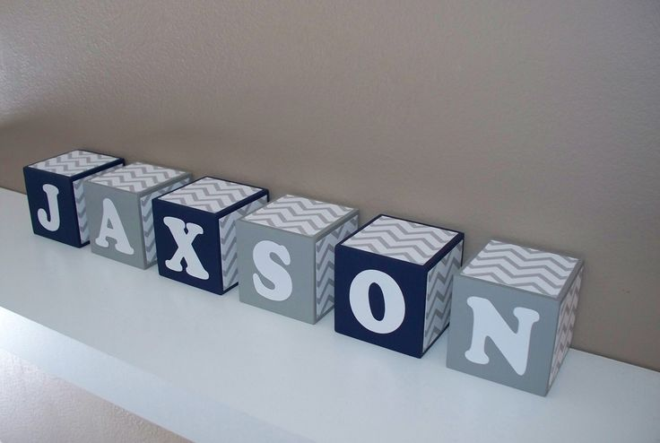 SALE Letter Blocks - Nursery Decor - Navy Blue, Grey & White - Chevron - Wooden - Baby Shower Decoration, Boy room - Personalized - Wooden by BlockaholicBoutique on Etsy https://www.etsy.com/listing/247874838/sale-letter-blocks-nursery-decor-navy