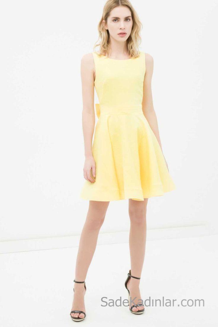 2018 Koton Elbise Modelleri Sarı Kısa Kolsuz Arkadan Fiyonk Detaylı