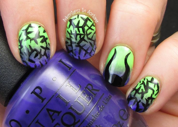 Adventures In Acetone: The Digit-al Dozen DOES Fairy Tales, Day 2: Maleficent Nail Art!
