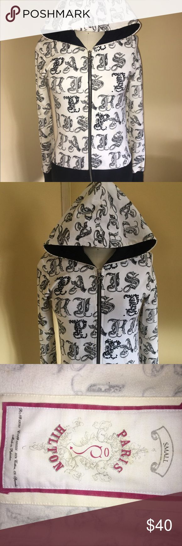 Paris Hilton zip up Hoodie size small Paris Hilton zip up hoodie size small made in Pakistan jeweled p's and signature Paris zipper pull. Black and white! Cotton spandex blend paris hilton Tops Sweatshirts & Hoodies