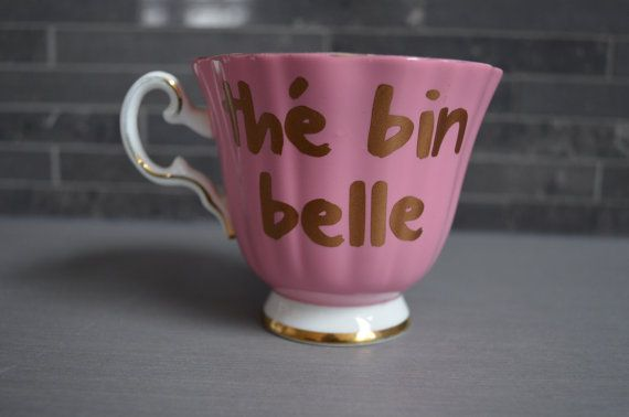 Vintage Teacup French thé bin belle Copper by bostoninachinashop