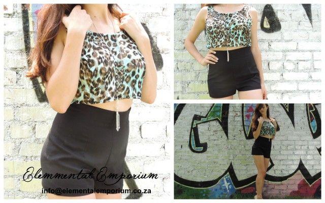 Black shorts high waist  | Blue leopard print crop top | Sale |Picnic  | Fashion | Classy | Elegant | Model | Trend | 2015 | Summer  info@elementalemporium.co.za