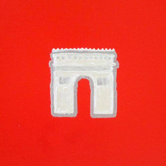 ARC DE TRIOMPHE Ivory and Silver Acrylic, Silver Embossing and Gloss Red Enamel Painting on Canvas Handmade in St. Louis, MO  Embrace the Esprit de Corps of the City of Light and bring home a piece of Paris with this playful painting. The classic beauty of Paris world-famous Arc de Triomphe is whimsically captured in vivid color and modern design with this one-of-a-kind piece. Shown here on an 6 x 8 gloss red canvas, each painting is hand-drawn, hand-embossed in silver and hand-painted in…
