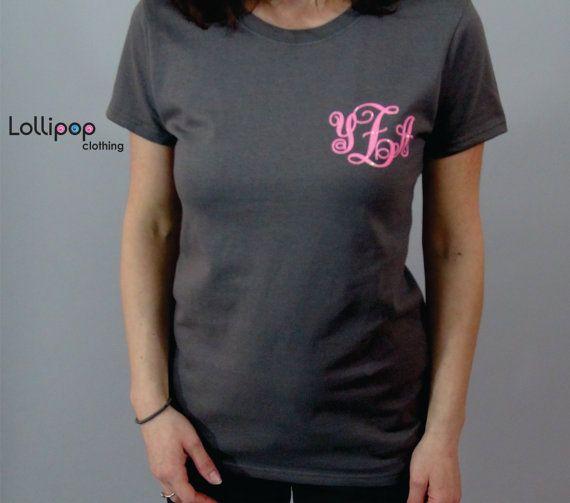 monogrammed tshirt. Womens shirt. Monogrammed by Lollipopclothing