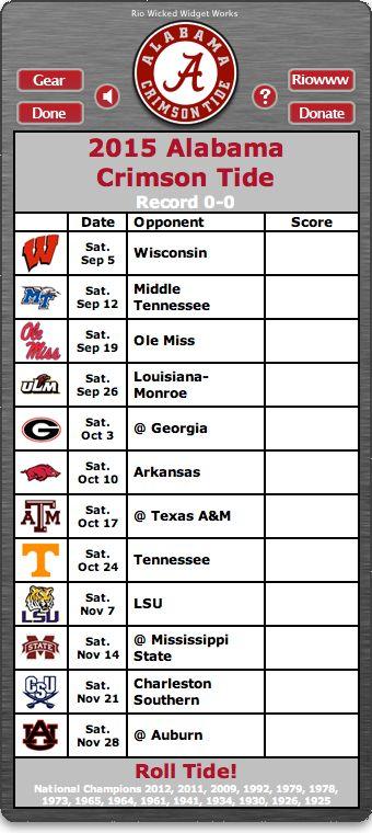 Alabama Crimson Tide Football Schedule Widget