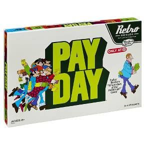 """Since 1975, the Payday game has offered kids and families everywhere the opportunity to collect salaries, pay bills, and build fortunes. In this collectible retro edition of the Payday game, the action takes place on the gameboard inspired by the 1975 edition. You never know what surprises each day will bring in this """"Where does all the money go?"""" game. You could get lucky and win the lottery, but you might also gamble away all your fortune if you're not careful. The player who ..."""