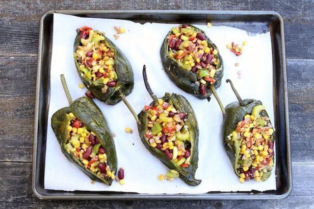 Vegetarian Stuffed Poblano Pepper Recipe on twopeasandtheirpod.com