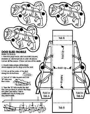Dog Sled Mobile, how a dog sled works. this would be nice for my packaging.