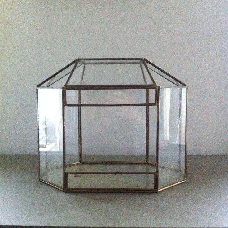 Terrarium géométrique doré, ou serre en fer et verre couleur laiton