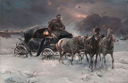 Traveller on a Winter Night, oil on canvas by Alfred Wierusz-Kowalski, Polish, 1849-1915. National Museum, Warsaw, Poland.