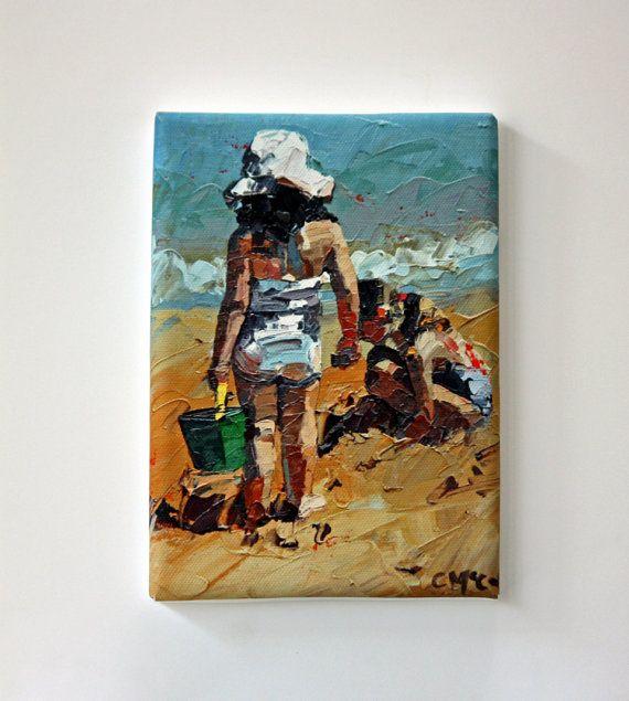 Tiny Canvas  Beach Art  Child Art  Canvas Print by ClaireMcCallArt